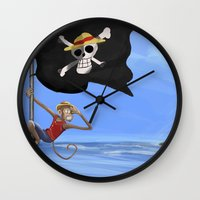 luffy Wall Clocks featuring Monkey D Luffy by Laércio Messias