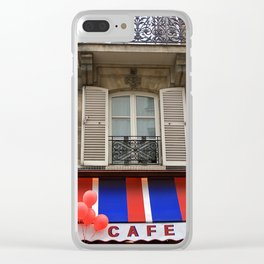 Red Balloons at Café Bonaparte Clear iPhone Case