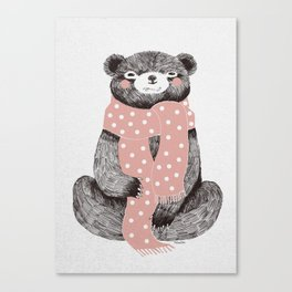 OSO, the bear with the big scarf.  Canvas Print
