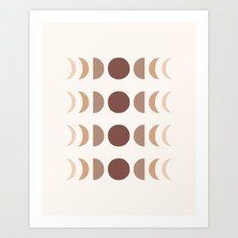 Moon Phases in Shades of Terracotta Art Print