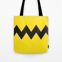charlie brown Tote Bags featuring Charlie Brown by Zhi-Yun