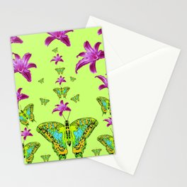 LIME COLOR PURPLE LILIES GREEN MOTHS Stationery Cards