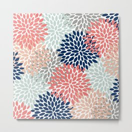 Floral Bloom Print, Living Coral, Pale Aqua Blue, Gray, Navy Metal Print