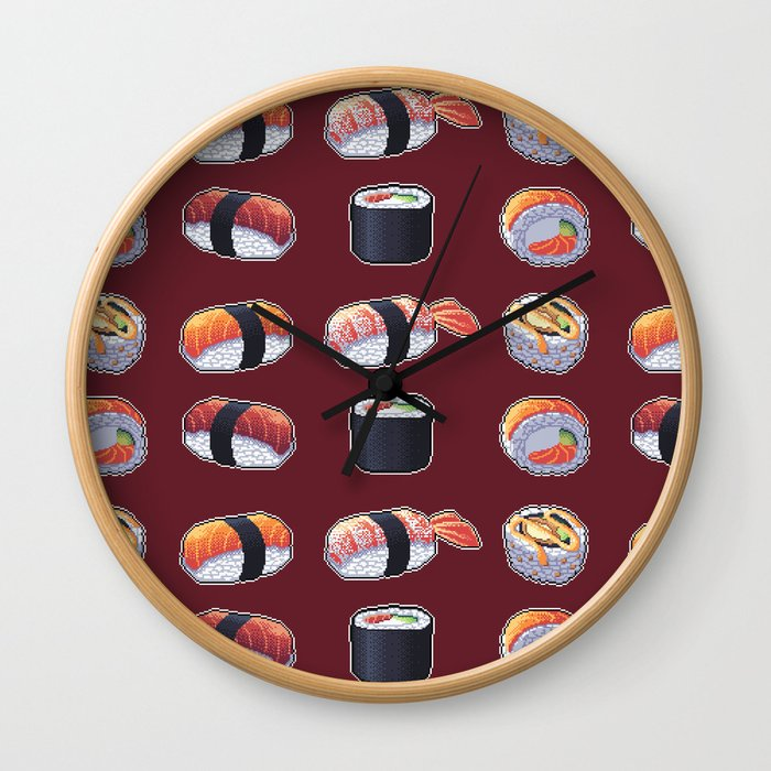Sushi Pixel Art Wall Clock