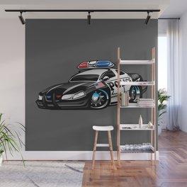 Police Muscle Car Cartoon Illustration Wall Mural