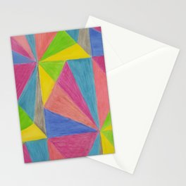 Modern Pink Green Yellow Hand Painted Triangles Stationery Cards
