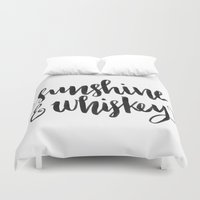 whiskey Duvet Covers featuring SUNSHINE & WHISKEY by Corina Rivera Designs