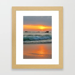 Golden sunset with turquoise waters Framed Art Print