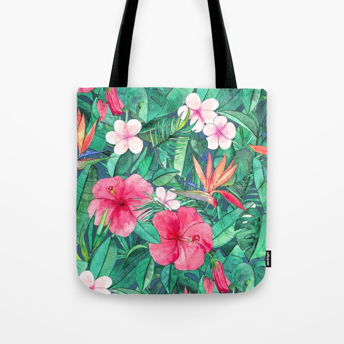Classic Tropical Garden with Pink Flowers Tote Bag
