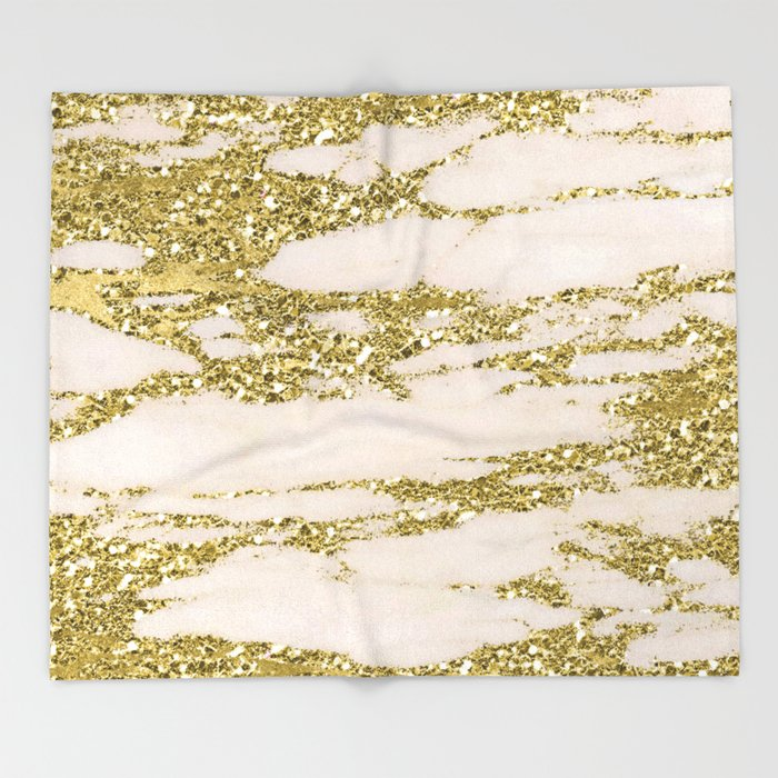 Marble Gold Marble Glittery Light Pink And Yellow Gold Throw