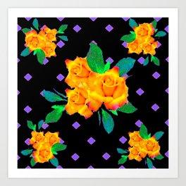 Black & Violet Golden Roses Pattern Art Print
