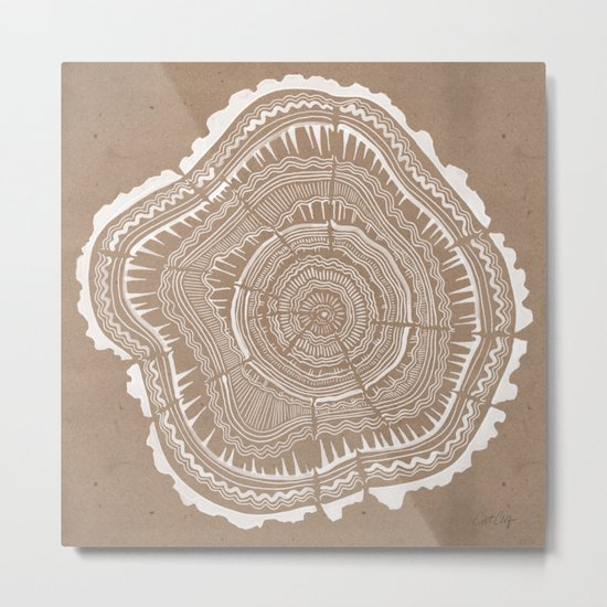 Tree Rings – White Ink on Kraft Metal Print