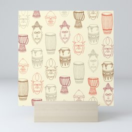 African drums and masks Mini Art Print