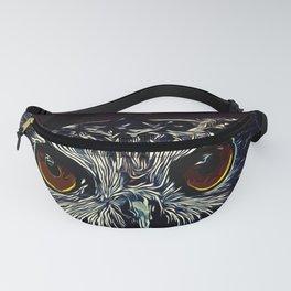 owl strix bird v2 vector art foggy night Fanny Pack