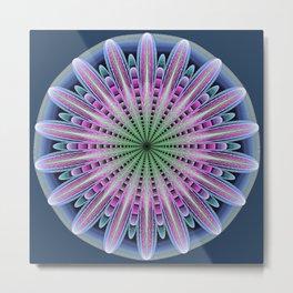 Artistic fantasy flower mandala Metal Print