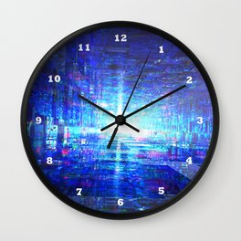Blue Reflecting Tunnel Wall Clock