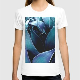 Turquoise Teal Blue Abstract Leaves T-shirt