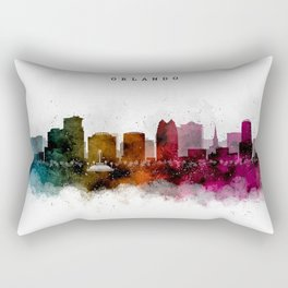 Orlando Watercolor Skyline Rectangular Pillow