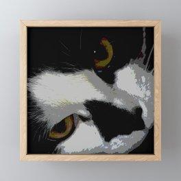Black white cat Framed Mini Art Print