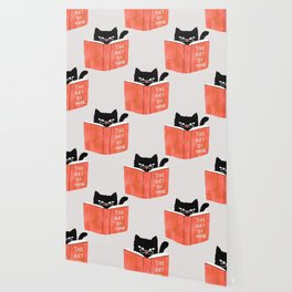 Cat reading book Wallpaper