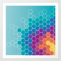 honeycomb Art Prints featuring Honeycomb by AleyshaKate