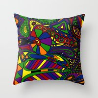 psychadelic Throw Pillows featuring Psychadelic by Groolya