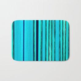 blue turquoise striped pattern Bath Mat