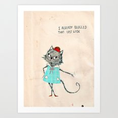 Hipster cat blogger Art Print