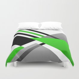 Sophisticated Ambiance - Silver & Minty Green Color Duvet Cover