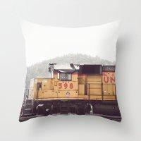 train Throw Pillows featuring Train by Kristine Ridley Weilert