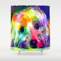 yorkie Shower Curtains featuring Colorful Yorkie By Annie Zeno  by Annie Zeno