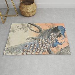 Vintage japanese print of two peacocks  Rug