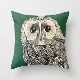 Buho verde Throw Pillow