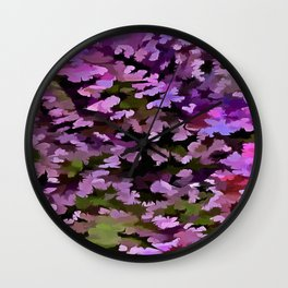Foliage Abstract Pop Art In Ultra Violet and Purple Wall Clock