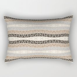 Mosaic Wavy Stripes in Cream, Brown and Gray Rectangular Pillow