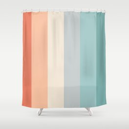 striped color pattern - red , orange, grey, green, Shower Curtain