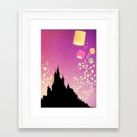 pixar Framed Art Prints featuring Pixar Tangled Castle Print with Lanterns by Teacuppiranha