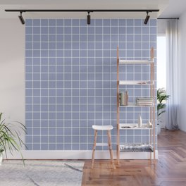 Wild blue yonder - grey color - White Lines Grid Pattern Wall Mural