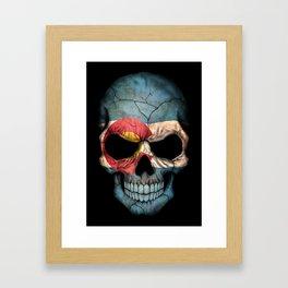 Dark Skull with Flag of Colorado Framed Art Print