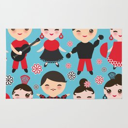 Seamless pattern spanish flamenco dancer. Kawaii cute face with pink cheeks and winking eyes. Rug