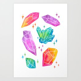 Watercolor Crystals Art Print