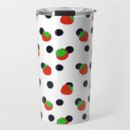 Polka dot and strawberries Travel Mug