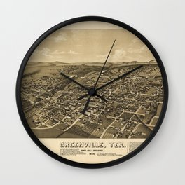 Aerial View of Greenville, Texas (1886) Wall Clock