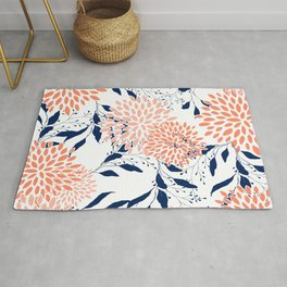 Floral Prints and Leaves, White, Coral and Navy, Art for Walls Rug