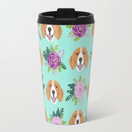 Beagles pattern floral dog breed beagle art pet portrait pet friendly dog art Travel Mug