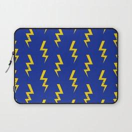 Lightning bolt fun pattern decor blue and gold boys room nursery superhero Laptop Sleeve