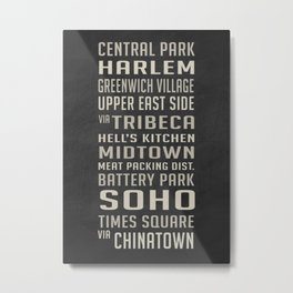 New York City Subway Stops Vintage Metal Print