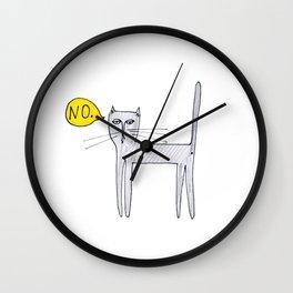 A Cat Saying No Wall Clock