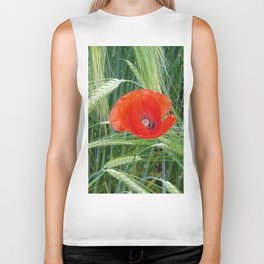 The Red Poppy in the Field Biker Tank