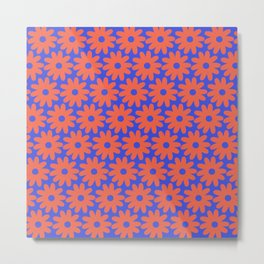 Crayon Flowers Cheerful Smudgy Floral Pattern in Coral and Bright Blue Metal Print